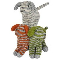 Knitted rattle doll dog