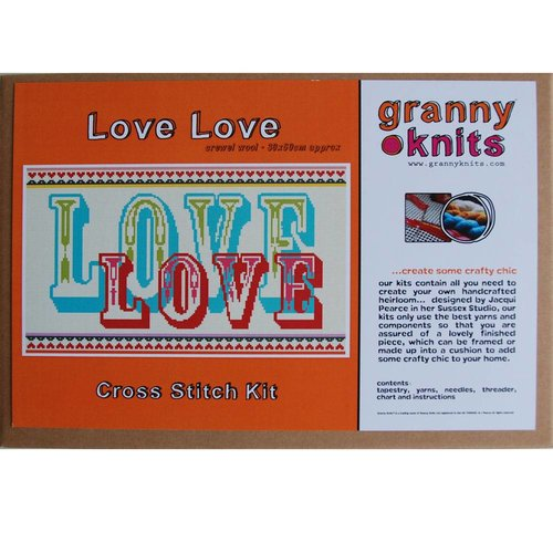 Granny Knits DIY Embroider Pillow Love