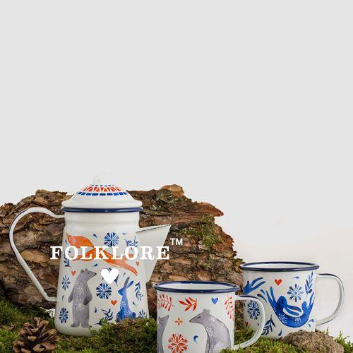 Wild & Wolf Enamel tea / coffee pot Sunrise Hare