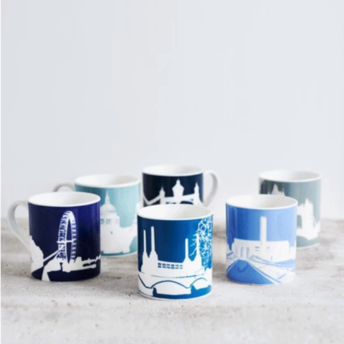 Snowden Flood Set of mugs river Thames landmarks