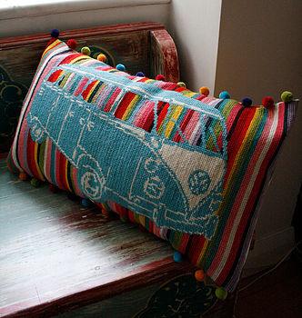 Granny Knits DIY borduur retro Camper Rainbow