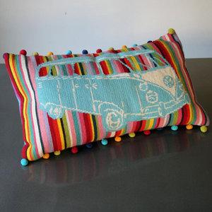 Granny Knits DIY Embroider retro Camper Rainbow
