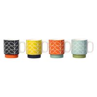 Stacking mugs linear stem set of 4