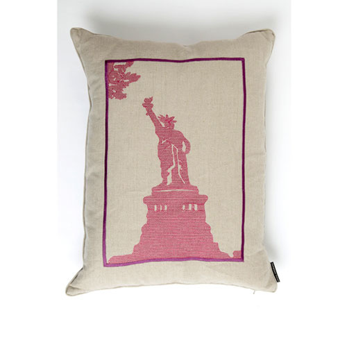 Snowden Flood Embroidered cushion State of Liberty