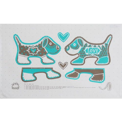 Mary Fellows - Pintuck Pintuck Tea towel Puppy love