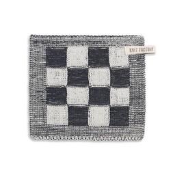 Knit Factory Gebreide Pannenlap Blok Antraciet
