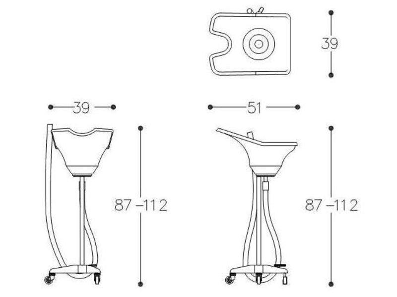 Alteq Mobiele wasbak met pedaal en wielen