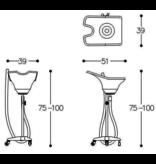 Alteq Mobiele Wasbak , verstelbaar met knop + wielen