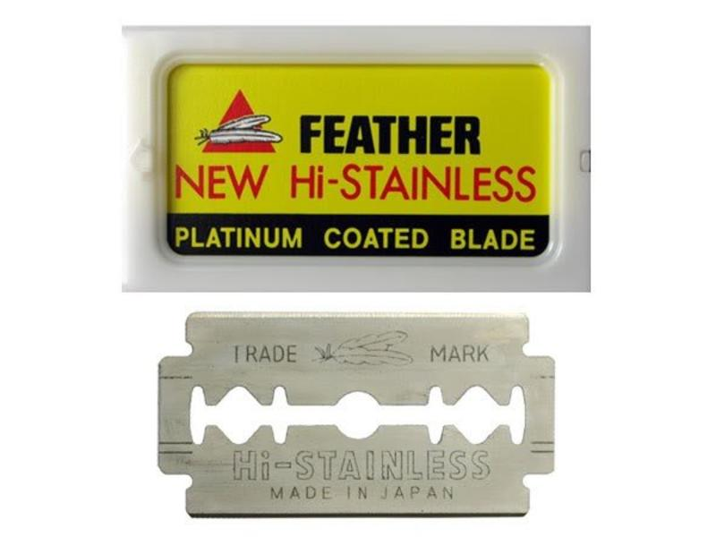 Feather  Double Edge Blades 10 Stuks. geel