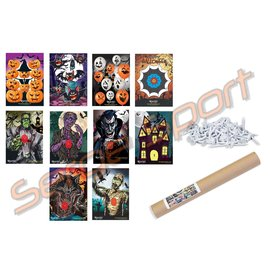 EGERTEC COMPLETE SET OF 10 HALLOWEEN FACES with 50 TARGET PINS