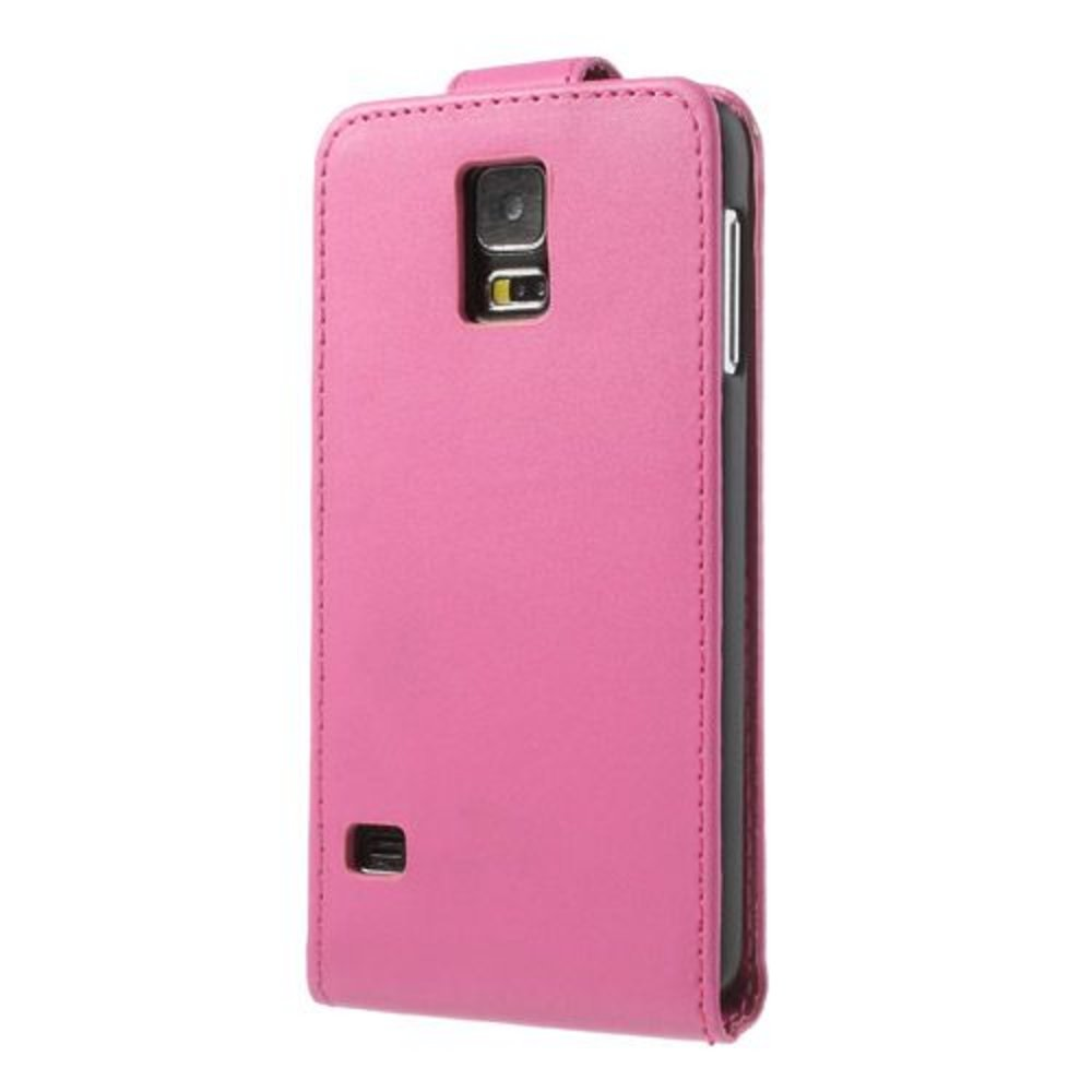 Roze lederen Samsung Galaxy S5 Flipcase