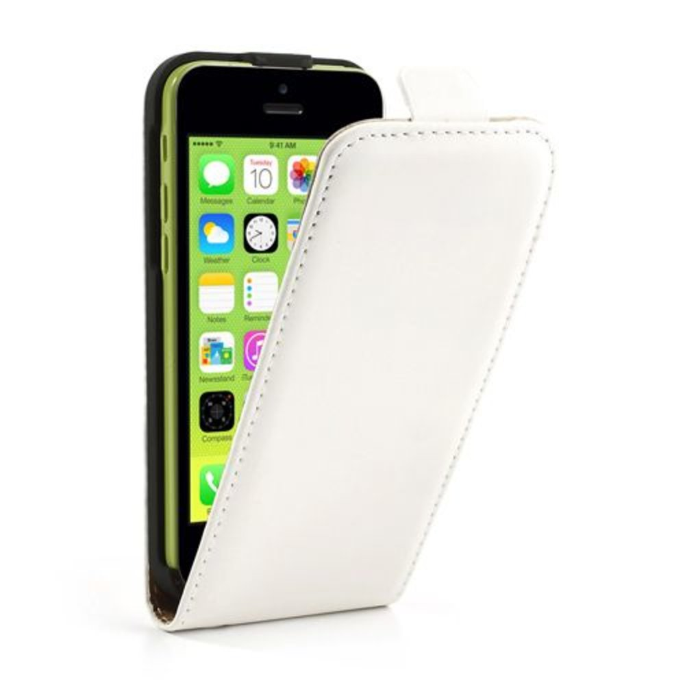 Klassiek Wit lederen iPhone 5C flipcase