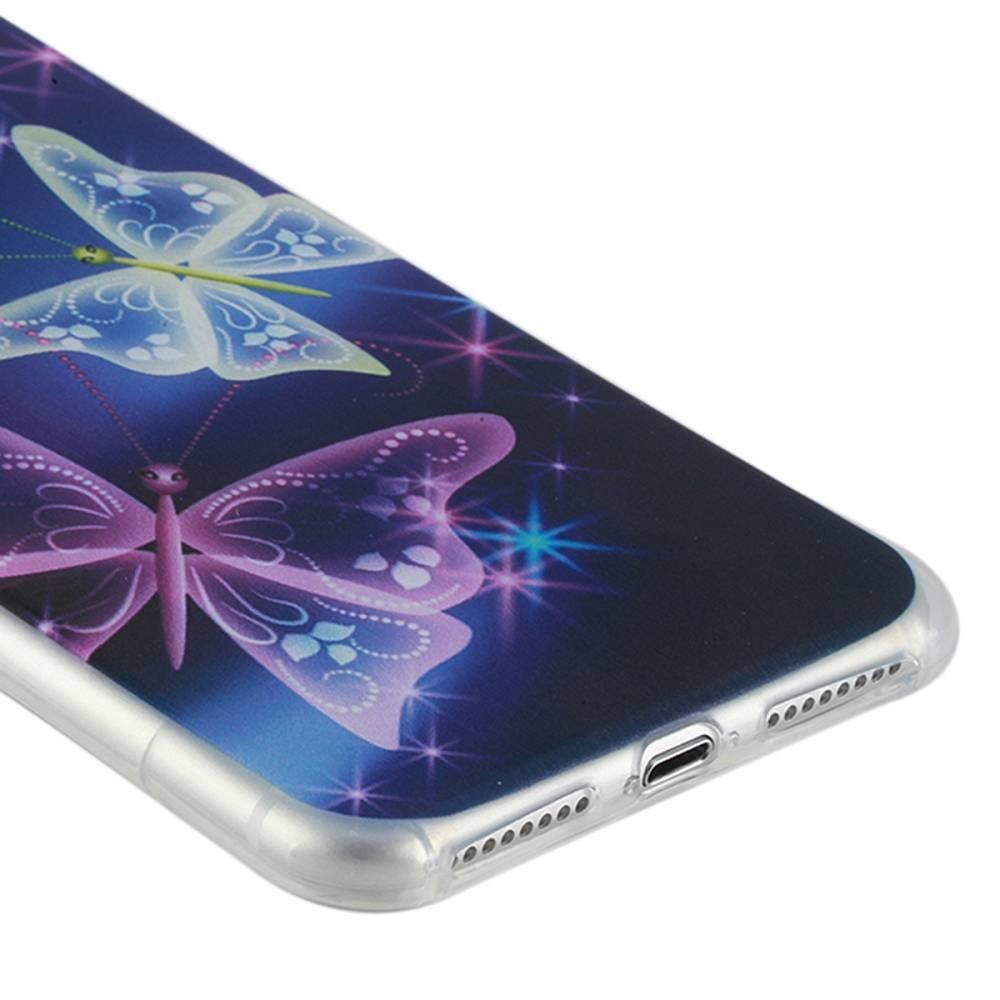 Paarse vlinder  Iphone 7 plus flexibel hoesje