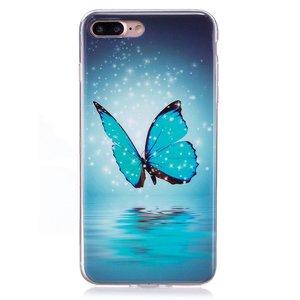 Glow in the dark blauwe vlinder. Iphone 7 plus flexibel hoesje