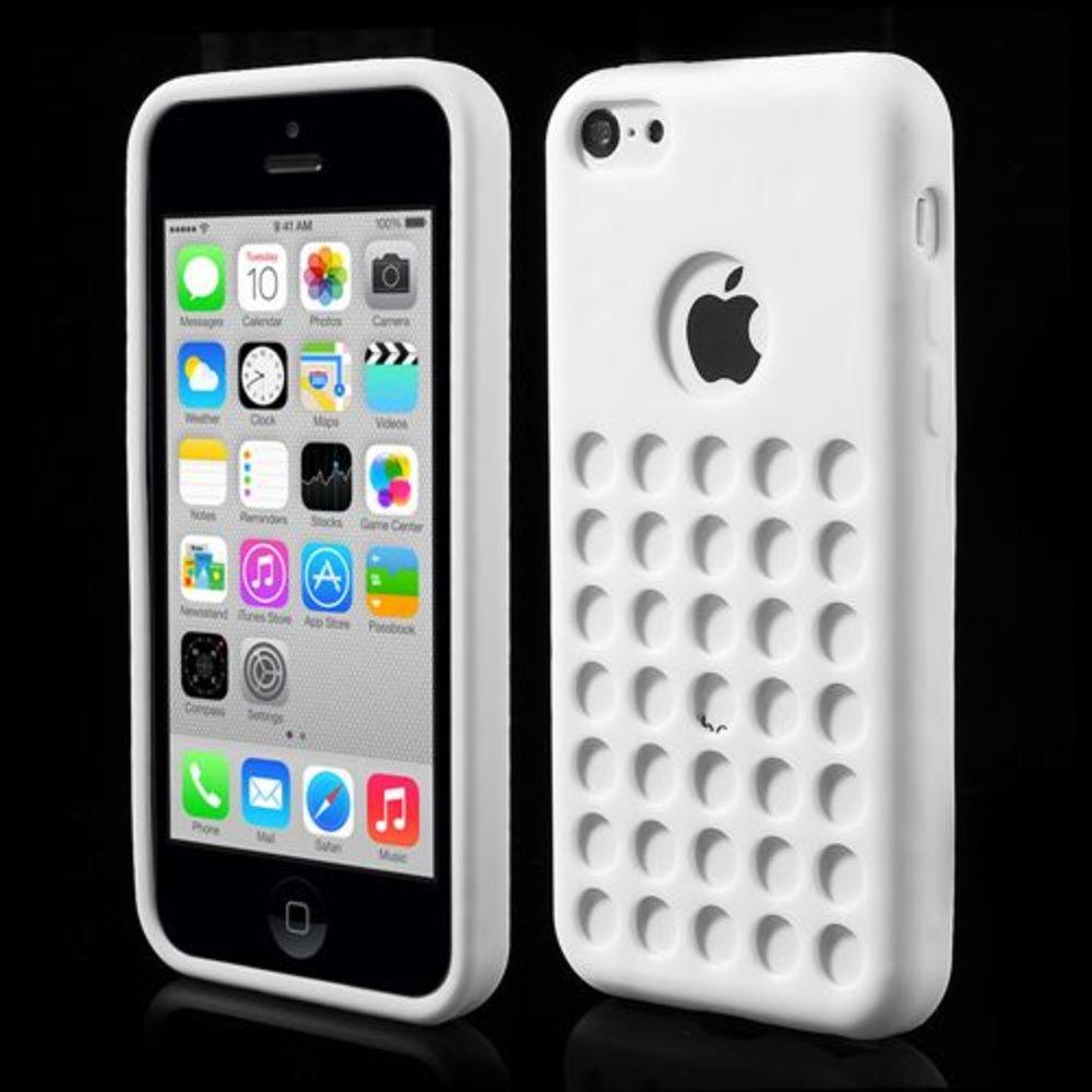 Wit geperforeerd TPU iPhone 5C hoesje