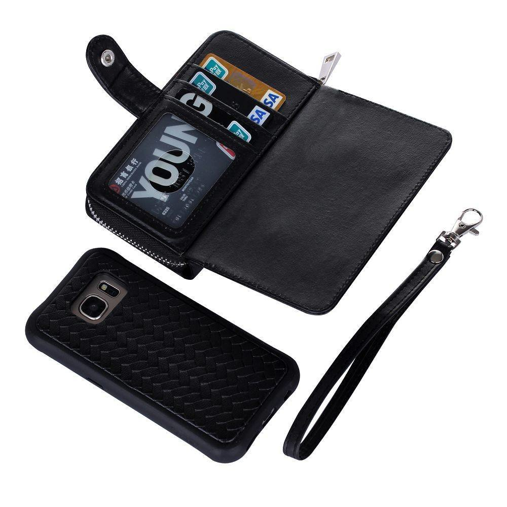Zwart geweven portemonnee hoesje Samsung S7 met los te maken case