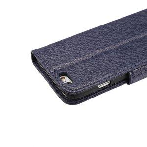 Blauw pu lederen iPhone 6 portemonnee hoes