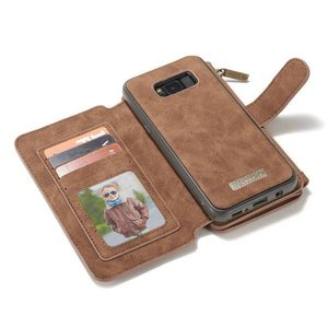 CaseMe 14 vaks 2 in 1 wallet hoesje Samsung Galaxy S8  echt Split leer