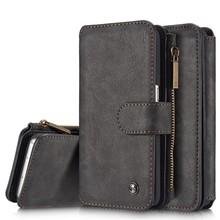 CaseMe Zwart 14 vaks 2 in 1 wallet hoesje Samsung S8 echt Split leer