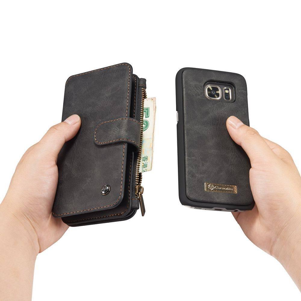 cf70bbbeb5d CaseMe Zwart 14 vaks 2 in 1 wallet hoesje Samsung Galaxy S8 echt Split leer