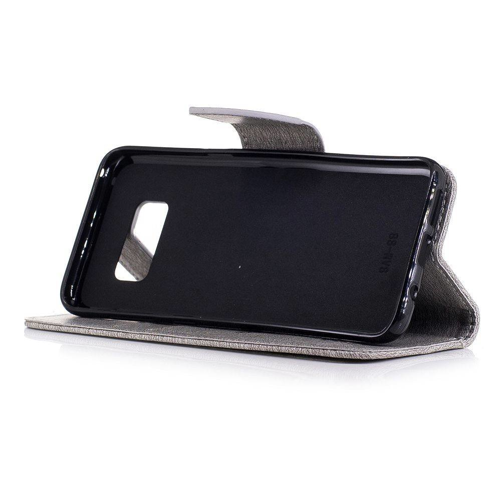 Grijze luxueus afgewerkt Samsung Galaxy S8 portemonnee hoesje