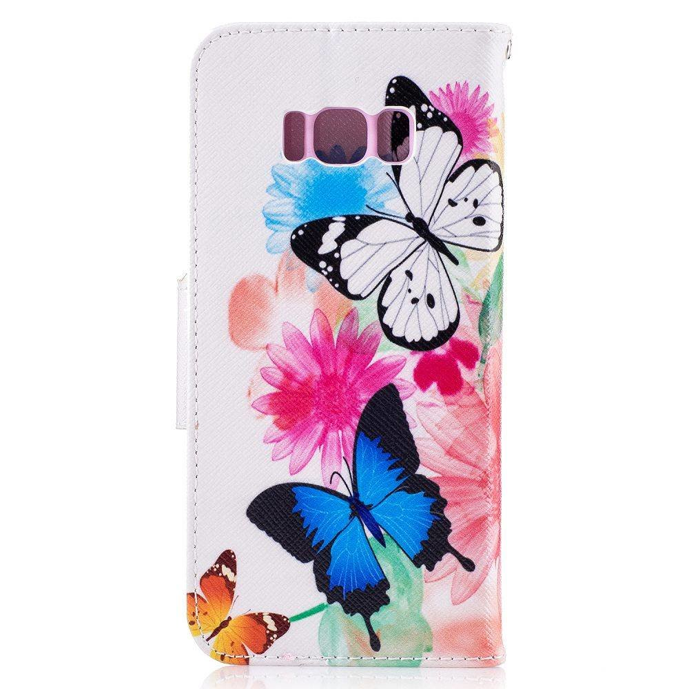 Samsung Galaxy S8 portemonnee hoesje vlinders op kleuren