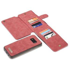 CaseMe Rood 14 vaks 2 in 1 wallet hoesje Samsung Galaxy S8  PLUS echt Split leer