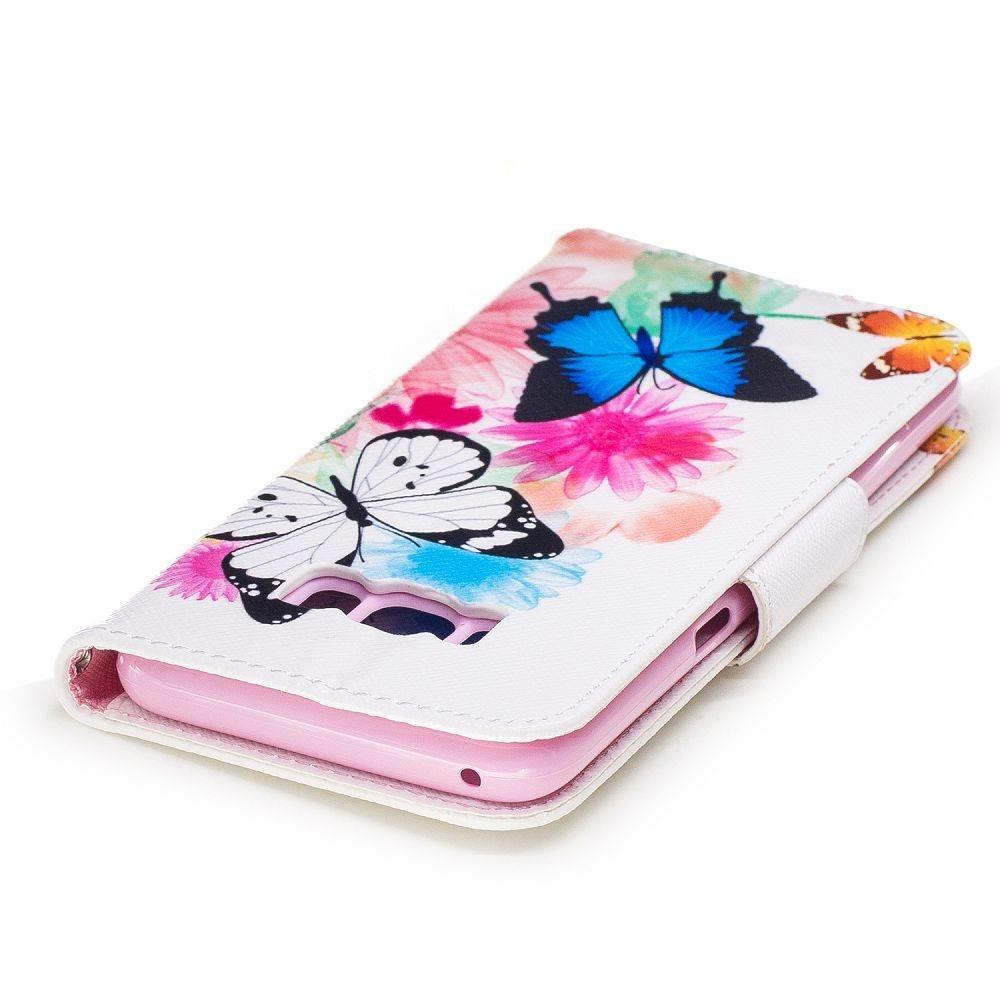 Samsung Galaxy S8  PLUS portemonnee hoesje vlinders op kleuren