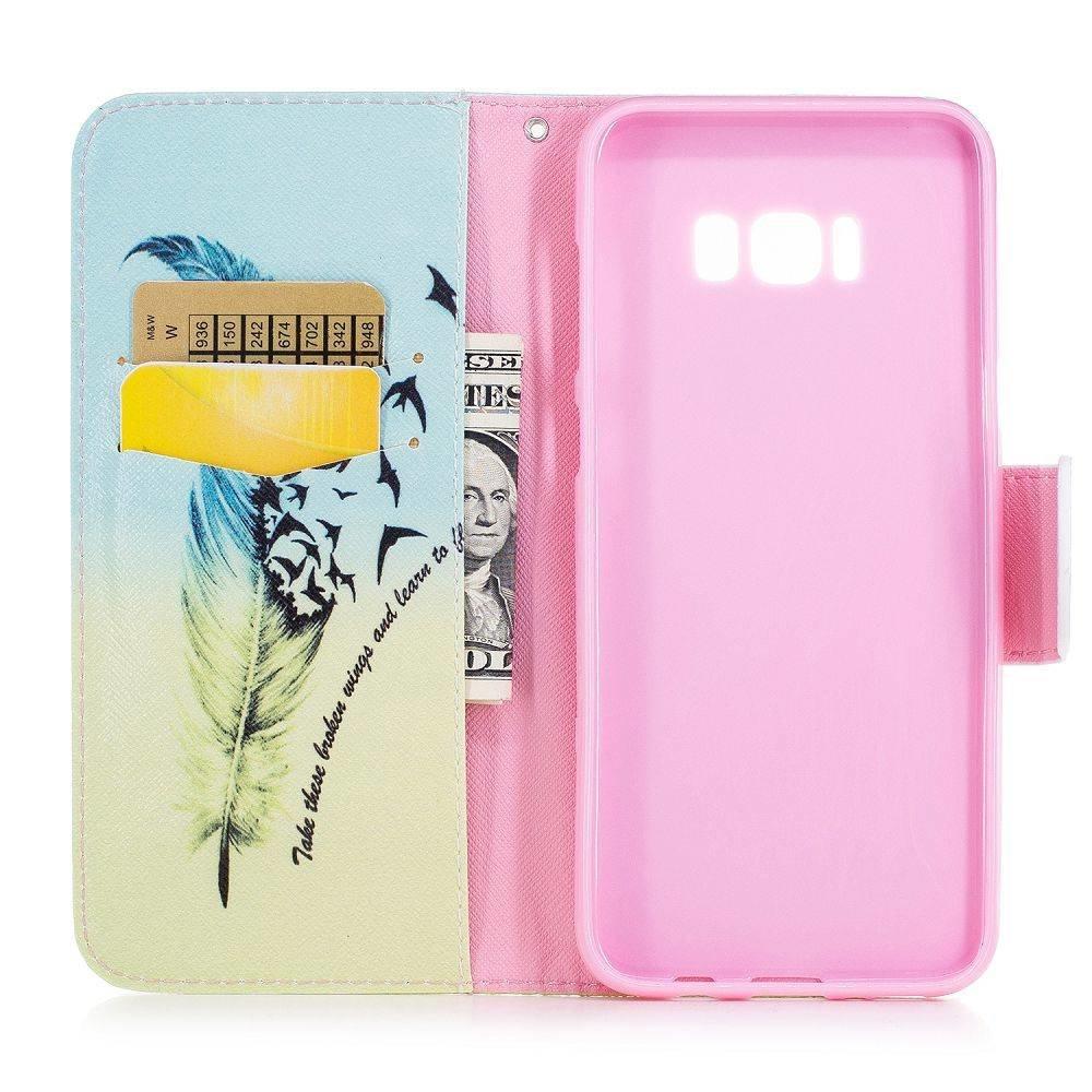 Veer met tekst Samsung S8 PLUS portemonnee hoesje