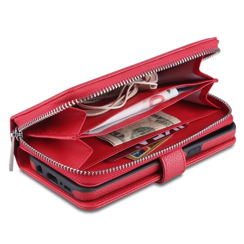 Zwarte Stevige  portemonnee hoes voor de S8 met los te maken case