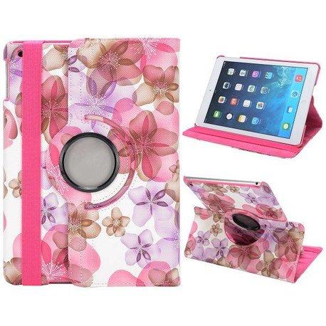 Bloemetjes Roze iPad Air hoes 360° roteerbaar PU leder