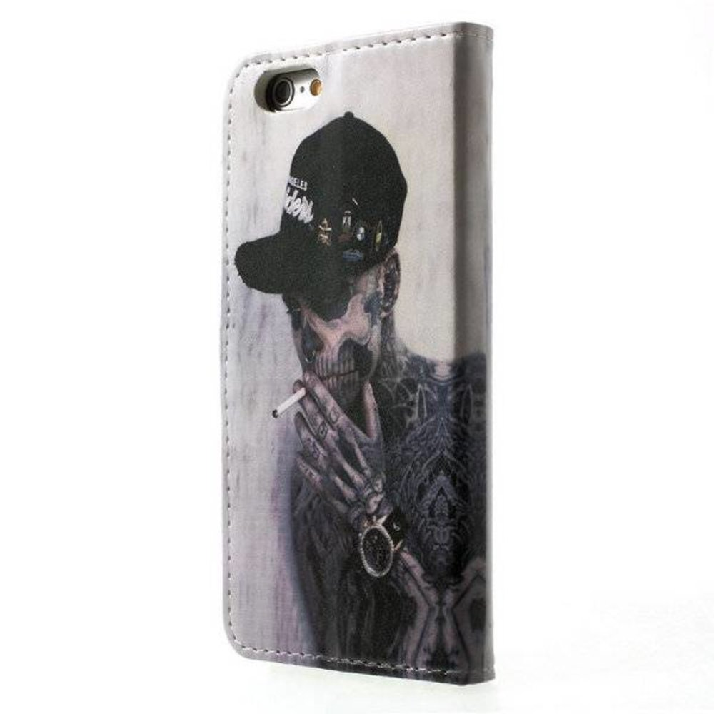 Rokende skelet kunstleren iPhone 6, 6S portemonnee hoes