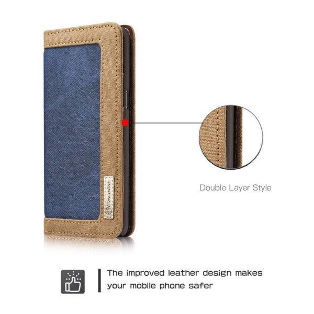 CaseMe Samsung Galaxy S8 PLUS Portemonnee hoesje Blauw met bruin