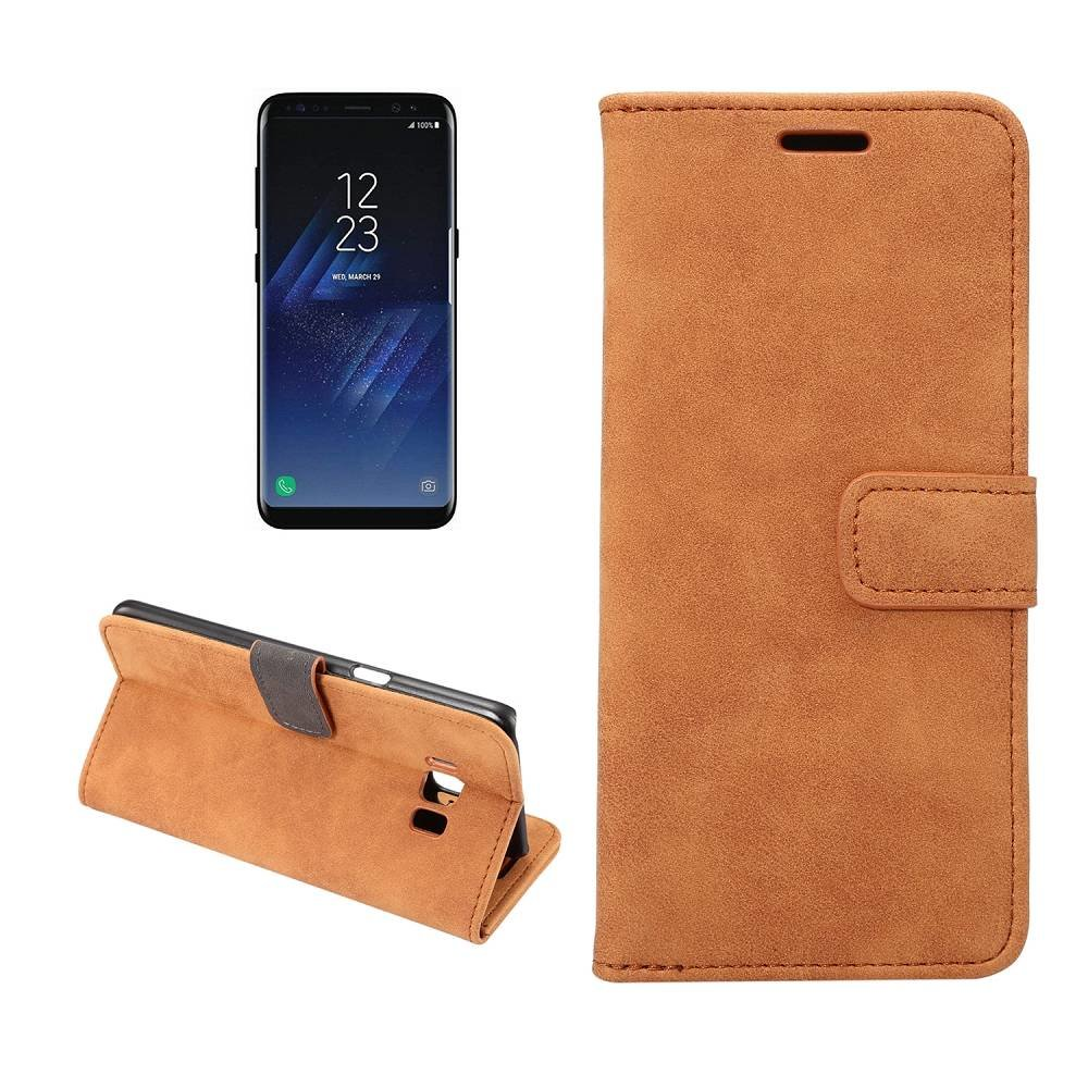 Samsung Galaxy S8 Portemonnee hoesje bruin zachte stof