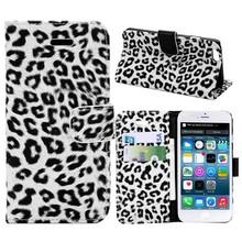 Wit luipaard print iPhone SE,5,5S portemonnee hoes