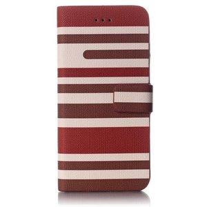 Bruin gestreepte iPhone 6 portemonnee hoes