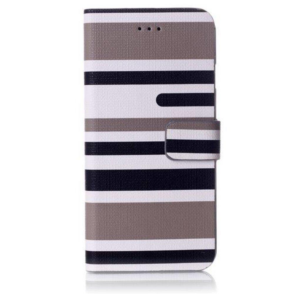 Grijs gestreepte iPhone 6 portemonnee hoes