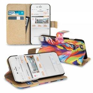 Kleurrijke leeuw iPhone 7 Plus portemonnee hoesje