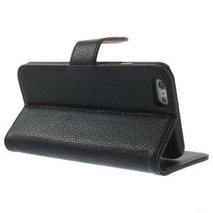 Zwart pu lederen iPhone 6 portemonnee hoes