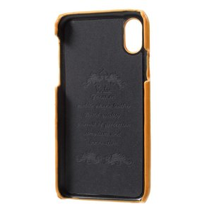 Virtue Bruine harde met pu leer bekleed iPhone X  hoesje met ruimte voor 2 pasjes