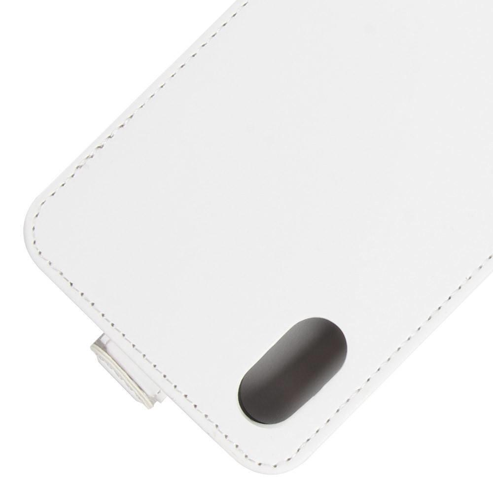 Klassiek wit  kunstlederen iPhone X Flipcase