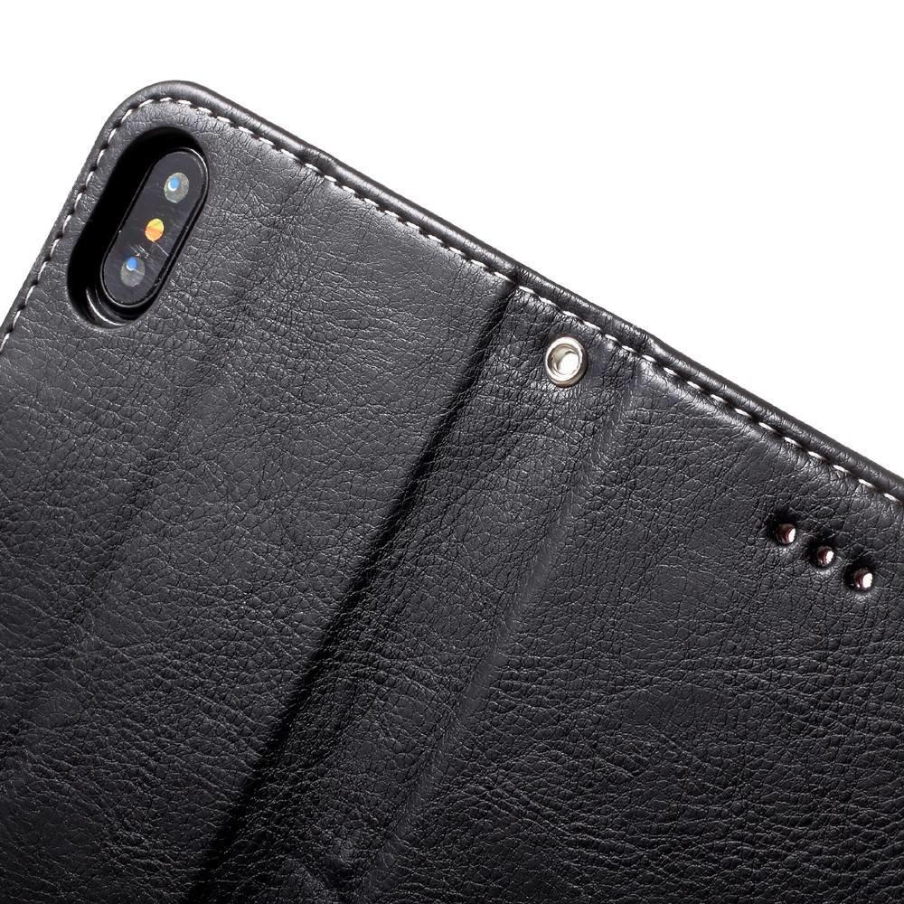 iPhone X net afgewerkte litchi skin kunstlederen  portemonnee hoes