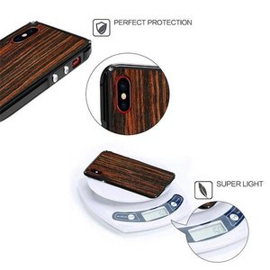 Showkoo iPhone X Kevlar echt hout hardcase met alluminium bumper