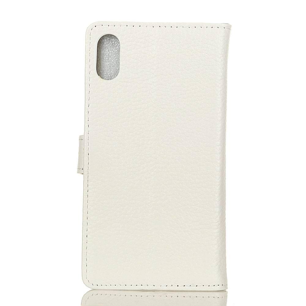 ac8791e98ec Witte echt leren iPhone X portemonnee hoesje