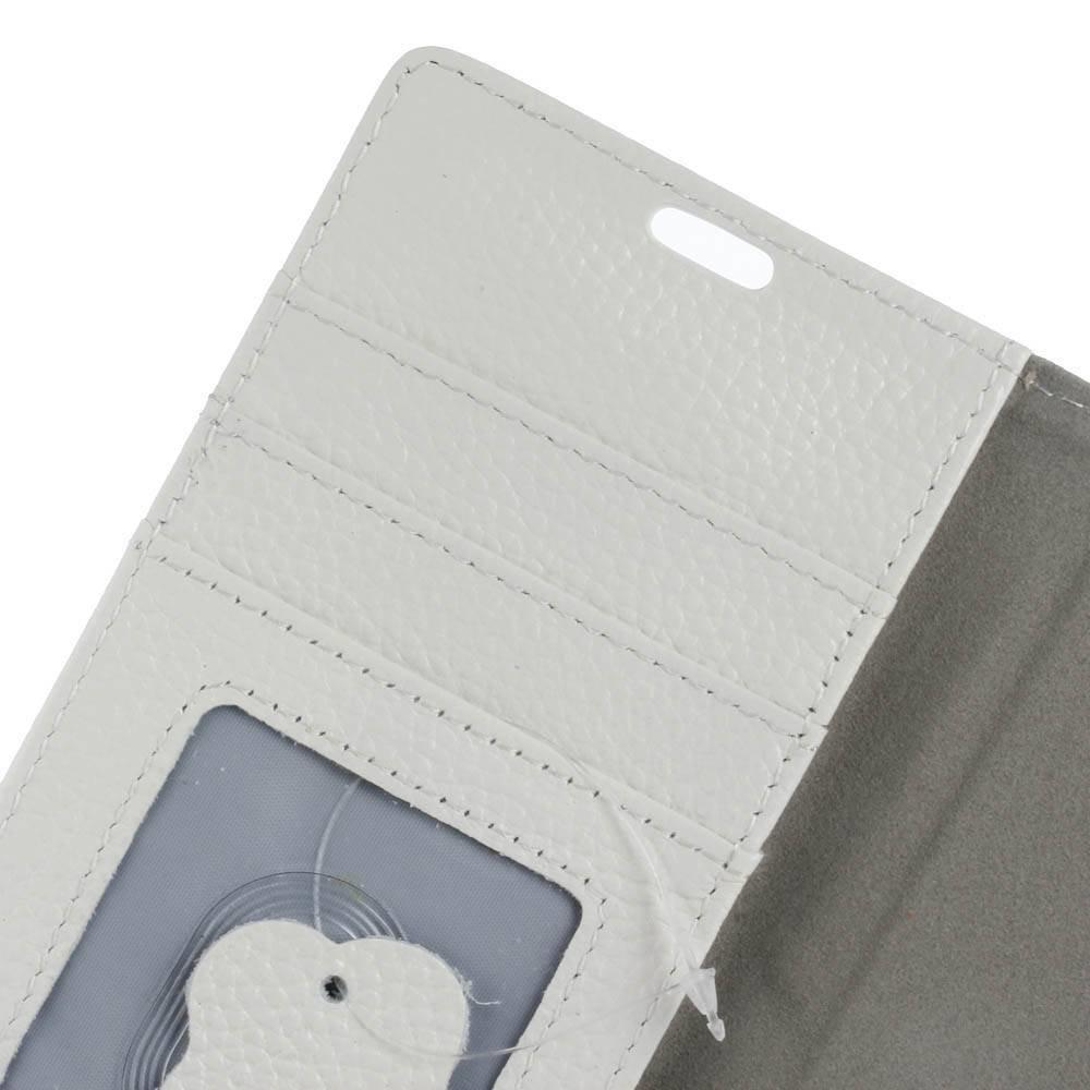 Witte echt leren iPhone X portemonnee hoesje