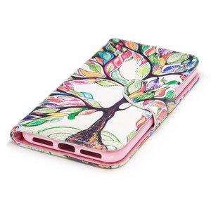Kleurrijke boom iPhone X portemonnee hoesje