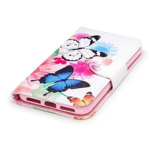 iPhone X portemonnee hoesje  vlinders op kleuren