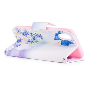 Blauwe vlinders en bloemen iPhone X portemonnee hoesje