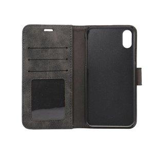 Zwarte kunstleren iPhone X portemonnee hoesje