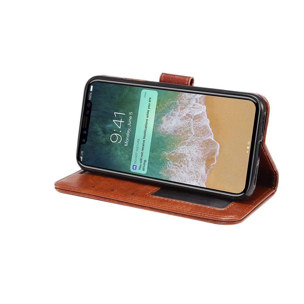 Bruine kunstleren iPhone X portemonnee hoesje